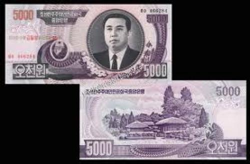 Banknotes; North Korea banknote - Five Thousand Won ( 5000 won ). Year : 2006