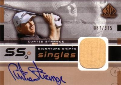 Curtis Strange certified autograph 2003 SP Game Used golf tournament worn shirt card