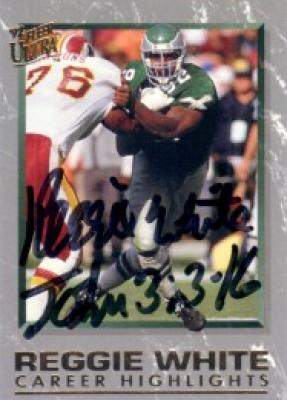Reggie White certified autograph Philadelphia Eagles 1992 Fleer Ultra card