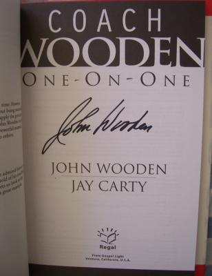 John Wooden autographed One-On-One hardcover book