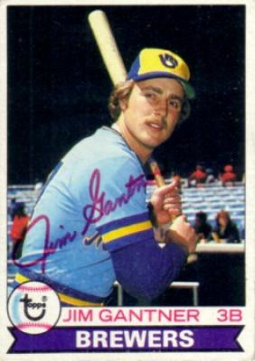 Jim Gantner autographed Milwaukee Brewers 1979 Topps card