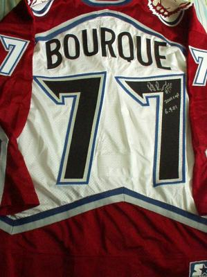 Ray Bourque autographed Colorado Avalanche authentic game model jersey inscribed 2001 Cup