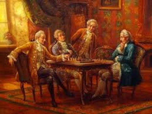 Antique Chess Game Interior Scene Genre Oil Painting