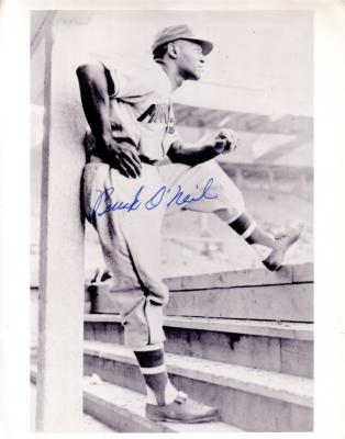 Buck O'Neil autographed Kansas City Monarchs vintage photo