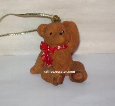 Ornament: Resin Teddy Bear w Scarf Christmas Ornament