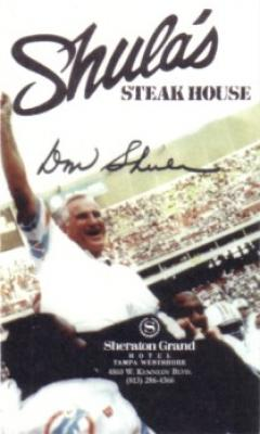Don Shula Dolphins Tampa Steakhouse promotional business card
