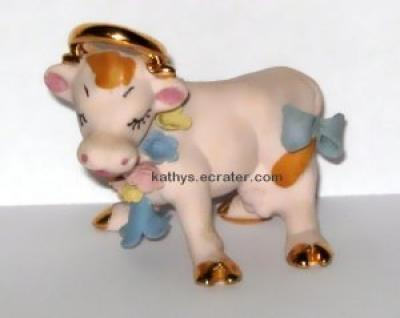 Walker Renaker Pink Bisque Cow Animal Figurine