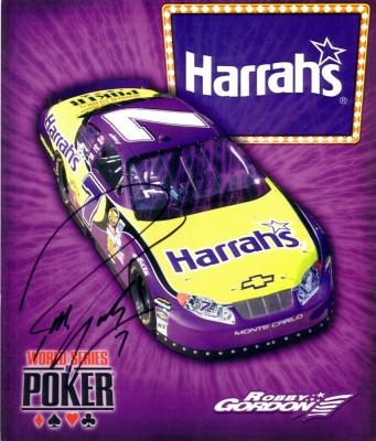 Robby Gordon (NASCAR) autographed 8x10 Harrah&#039;s photo card