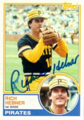 Richie Hebner autographed Pittsburgh Pirates 1983 Topps card