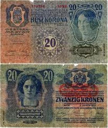 Banknotes; 20 Austrian Krona 1913 banknote