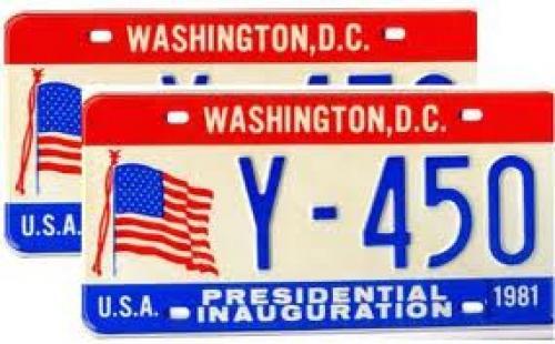 Memorabilia; Original Mint Set of Ronald Reagan 1981 Inauguration License Plates