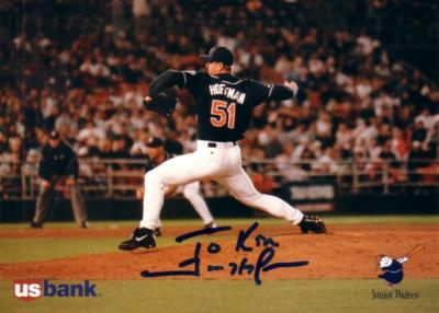 Trevor Hoffman autographed San Diego Padres 1996 jumbo card (To Ken or Kim)