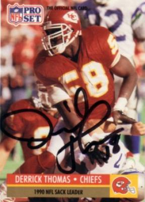 Derrick Thomas autographed Kansas City Chiefs 1991 Pro Set card