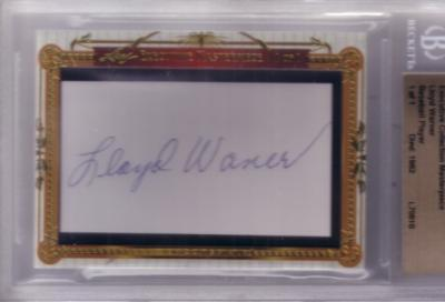 Lloyd Waner certified autograph 2011 Leaf Executive Masterpiece Cut Signature card #1/1