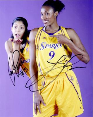 Lisa Leslie &amp; Candace Parker autographed 8x10 WNBA Los Angeles Sparks photo