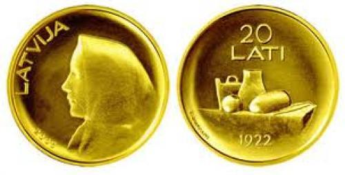 Coins;Latvia 20 Lati Gold Coin