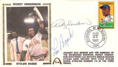 Rickey Henderson &amp; Lou Brock autographed Stolen Base Record cachet