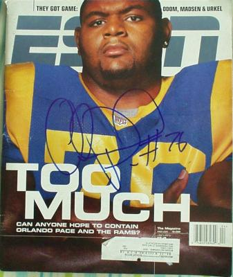 Orlando Pace autographed St. Louis Rams ESPN Magazine