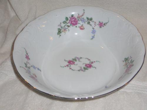 Wawel China Rose Garden Gold Tone Rimmed Serving Bowl