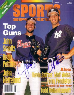 Andy Pettitte &amp; John Smoltz autographed 1997 Sports Spectrum magazine cover