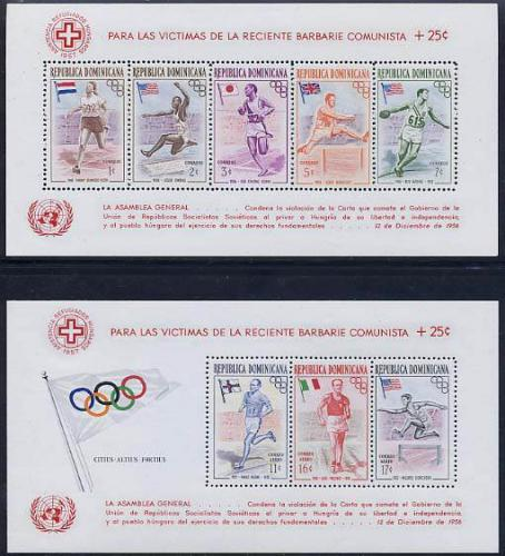 Hungary aid 2 s/s, overprints; Year: 1957