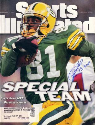 Desmond Howard autographed Green Bay Packers Super Bowl MVP Sports Illustrated inscribed SB MVP