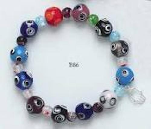 Jewelry; Evil Eye bracelet glass beads with sterling charm