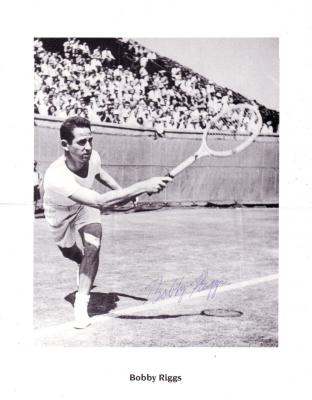 Bobby Riggs autographed black & white 8 1/2 by 11 tennis photo