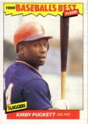 Kirby Puckett Minnesota Twins 1986 Fleer Sluggers vs Pitchers box bottom card M5