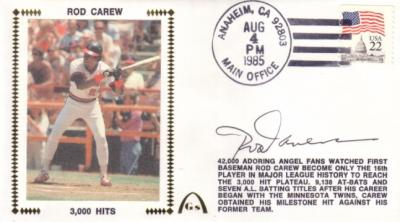 Rod Carew autographed Angels 3000 Hits cachet envelope