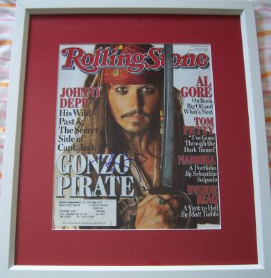 Johnny Depp autographed Pirates of the Caribbean Rolling Stone cover framed