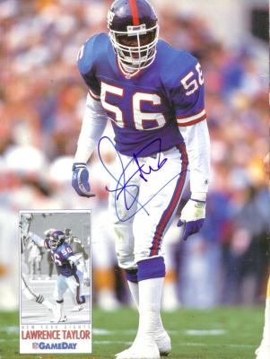 Lawrence Taylor autographed New York Giants Beckett Football back cover photo