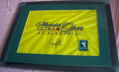 Suzann Pettersen autographed 2007 LPGA Michelob Ultra Open flag matted &amp; framed