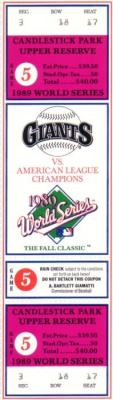 1989 World Series Game 5 San Francisco Giants vs. Oakland A's phantom ticket (MINT)