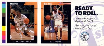 Kenny Anderson &amp; Dee Brown 1991 Star Pics promo card panel