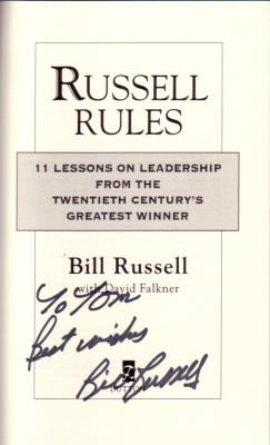 Bill Russell autographed Russell Rules book (personalized to Tom)