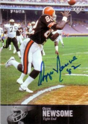 Ozzie Newsome certified autograph Cleveland Browns Upper Deck Legends card