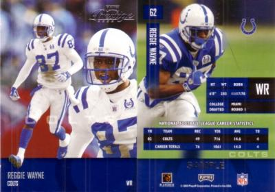 Reggie Wayne 2003 Playoff Prestige promo or sample card