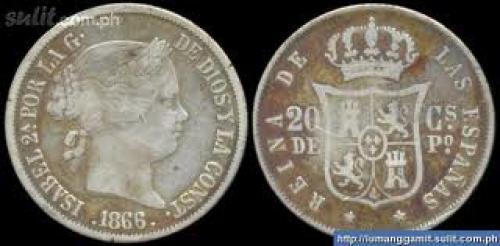 Spanish Philippine Silver Coin; Year:1866