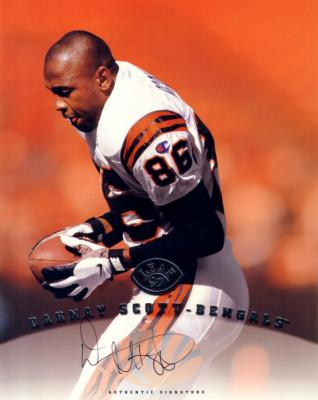 Darnay Scott certified autograph Bengals 1997 Leaf 8x10 photo card