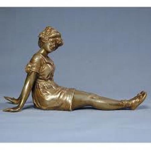 Antique Victorian Bronze Bathing Beauty Sculpture Figurine