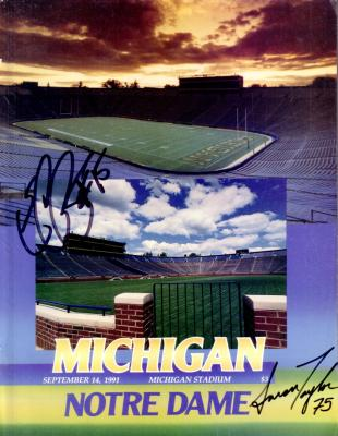 Elvis Grbac &amp; Aaron Taylor autographed 1991 Michigan vs. Notre Dame program