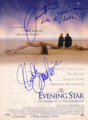 Juliette Lewis & Shirley MacLaine autographed Evening Star ad