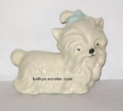 Ceramic White Male Yorkshire Terrier Dog Animal Figurine