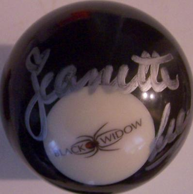 Jeanette Lee autographed Black Widow logo billiards 8 ball