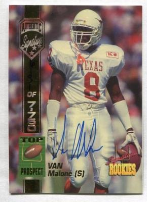 Van Malone Texas certified autograph 1994 Signature Rookies card