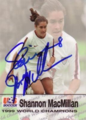 Shannon MacMillan autographed 1999 Women&#039;s World Cup Champions card