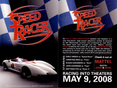 Speed Racer movie 2008 Comic-Con 4x6 promo card