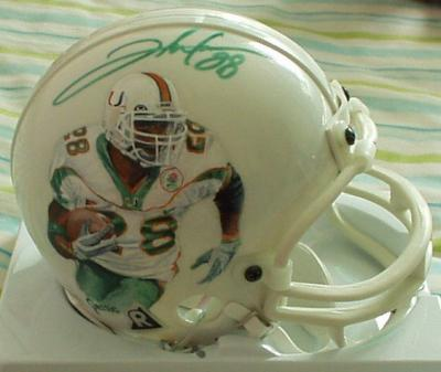 Clinton Portis autographed Miami Hurricanes mini helmet painted by Jolene Jessie (1/1)