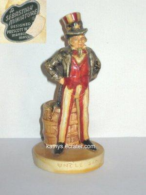 People: 1967 Sebastian Miniature USA UNCLE SAM Figurine Porcelain Glazed